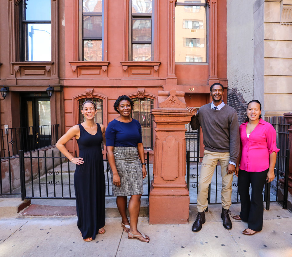 Grad students from the Class of 2017 standing in front of the site of the Goldman-Sonnenfeldt Building