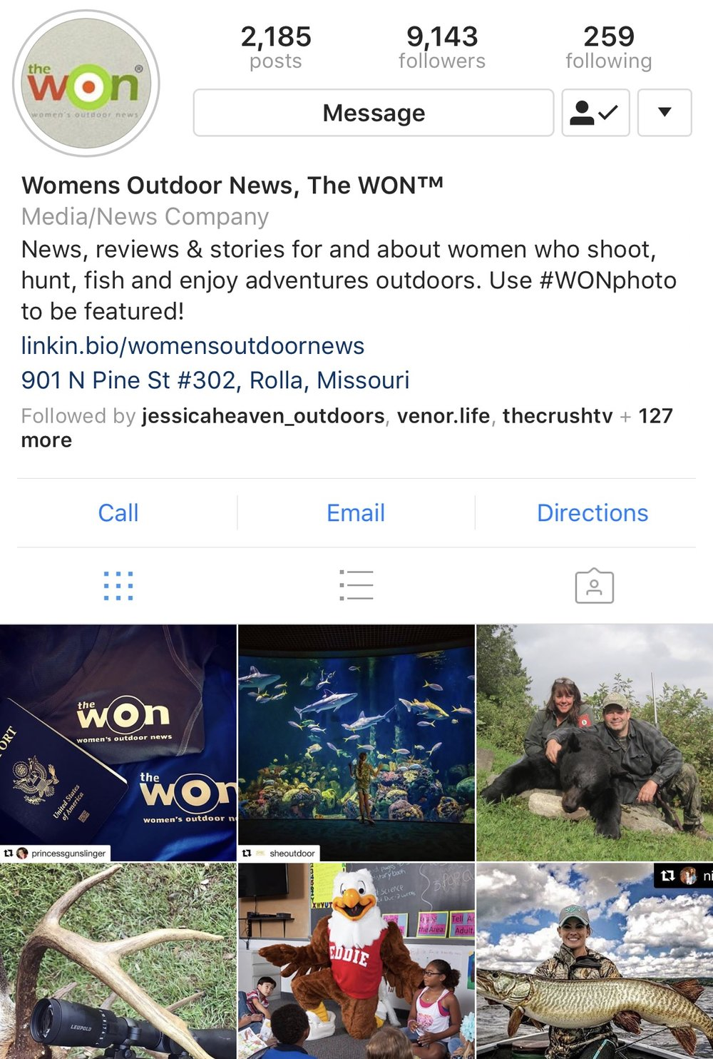 - The Women's Outdoor News, aka The WON,  features news, reviews and stories about women who are shooting, hunting, fishing and actively engaging in outdoor adventure. With a band of columnists and reviewers, photographers and female correspondents, The WON engages its readers through a blog format and we invite you to talk to us. Network with us. Let us know what you're doing outside and what you'd like to learn about.
