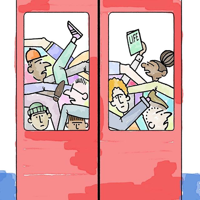 My daily journey... #jackramsay #skitcity #illustrator #illustration #art #artist #design #designer #graphicdesign #handdrawn #pendrawing #london #underground #londonunderground #transportforlondon #tube #commute #subway #metro #train #cartoon #cartoonist #comic #comics #fml #mindthegap