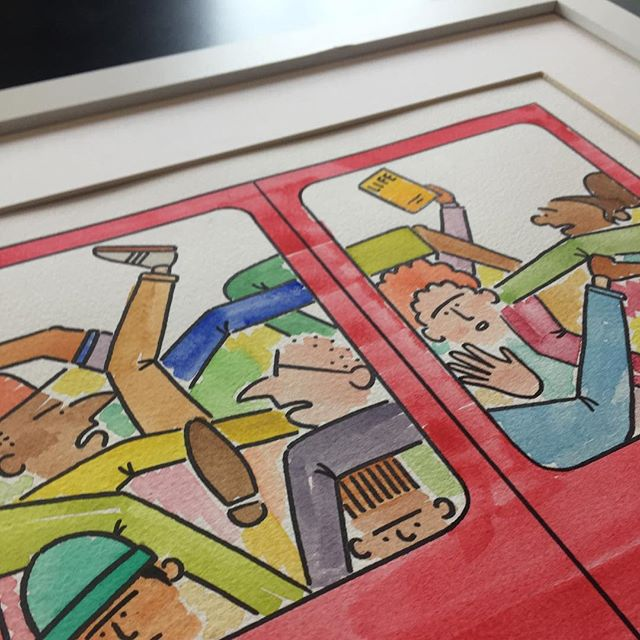 All finished... #jackramsay #skitcity #painting #watercolor #fullcolour #londonunderground #tube #subway #handpainted #art #illustration #illustrator #design #designer #artist #artwork #framed #mounted #forsale #transportforlondon #commute #commuters #rushhour #comic #cartoon #cartoonist