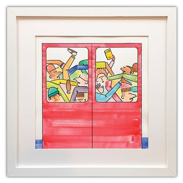 Commuters.  A one off, hand painted piece (45cm x 45cm). Available from my online shop ( www.skit-city.com ) Or follow the link in the bio ✌🏻 #jackramsay #skitcity #painting #watercolor #watercolour #framed #paint #illustration #illustrator #painter #design #designer #art #artwork #artist #comic #cartoon #forsale #commuters #commute #citylife #train #subway #londonunderground #transport #transportforlondon #underground #artforsale