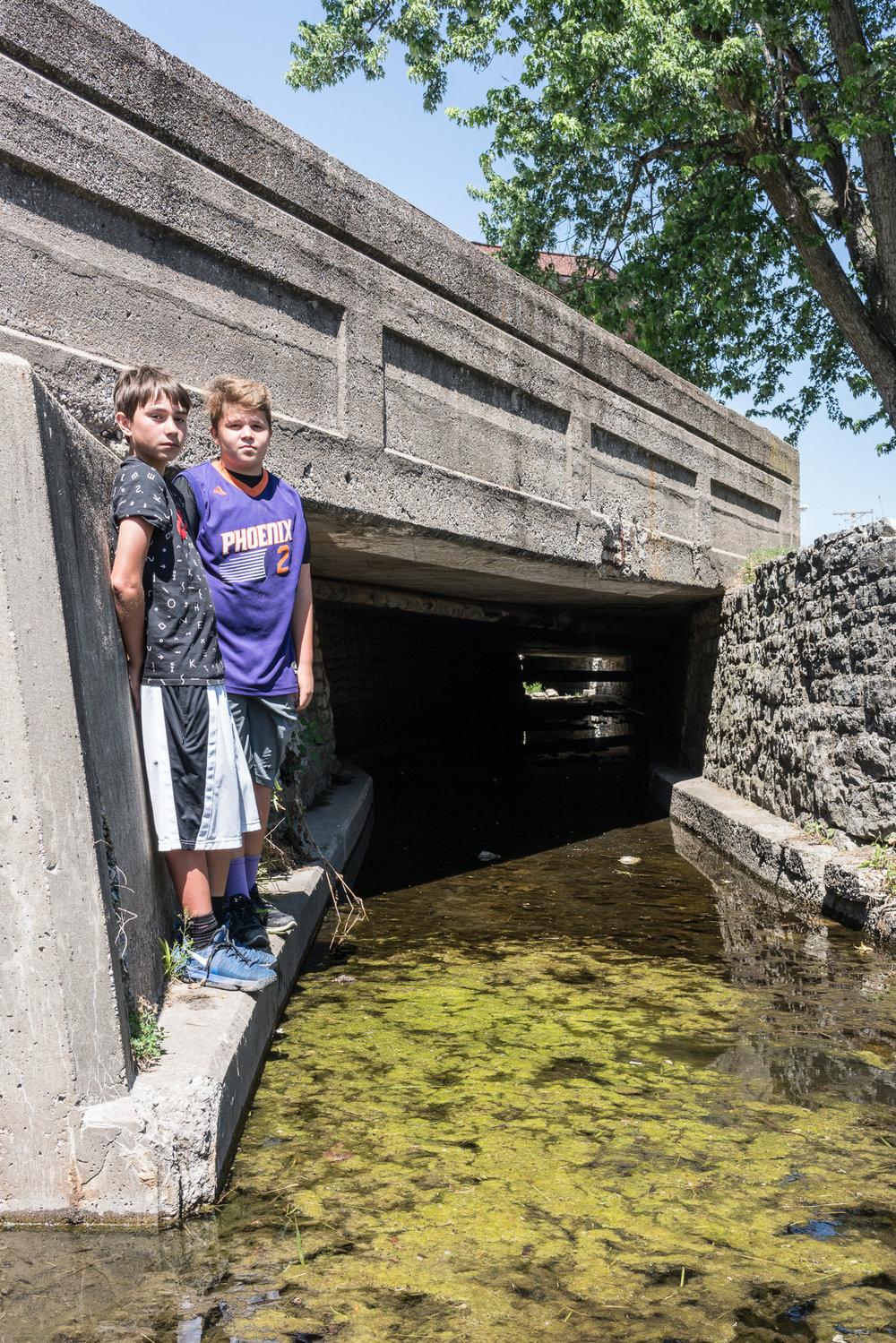 Dillon and Kamami at Hog River, Mascoutah, Illinois, 2017