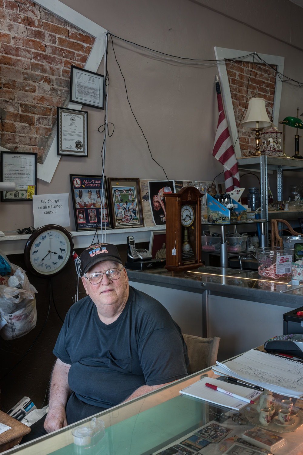 Mike at the Resale Shop, De Soto, Missouri, 2017