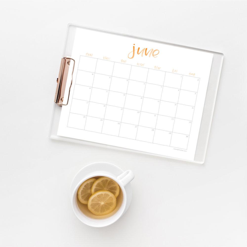 June 2018 Calendar   Raw Sugar Writes