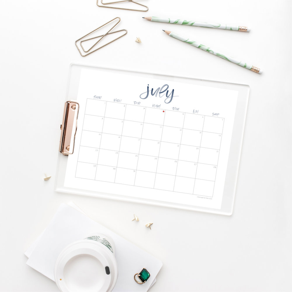 July 2018 Calendar | Raw Sugar Writes