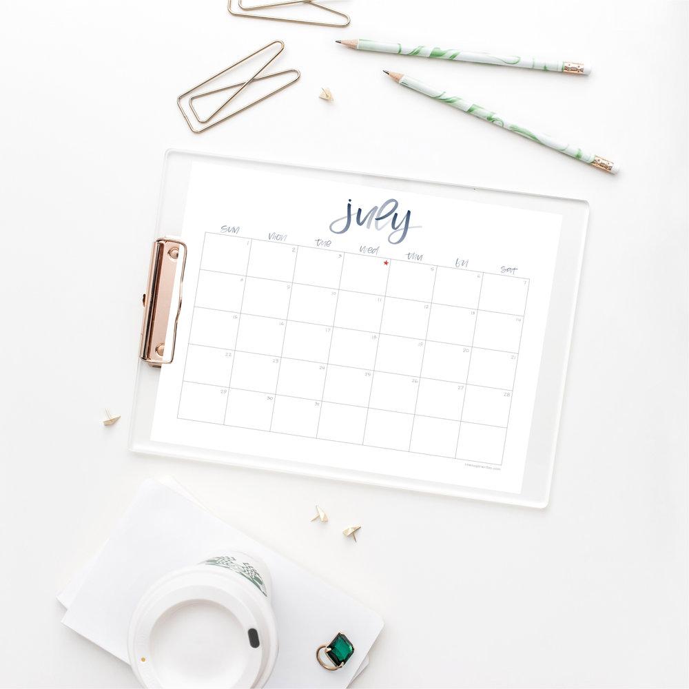 July 2018 Calendar | Raw Sugar Writes