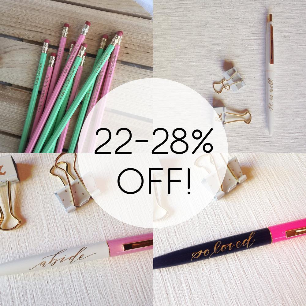 PENS + PENCILS  : 22-28% OFF  (Sale Prices: $2.50-$7)