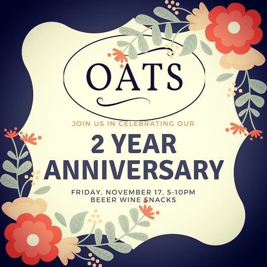 Join us Friday 17th from 5-10pm to celebrate OATS ✌ year anniversary party! Wine 🍷 beer 🍺 and snacks 🧀🍾🍾🍾🍾🍾🍾