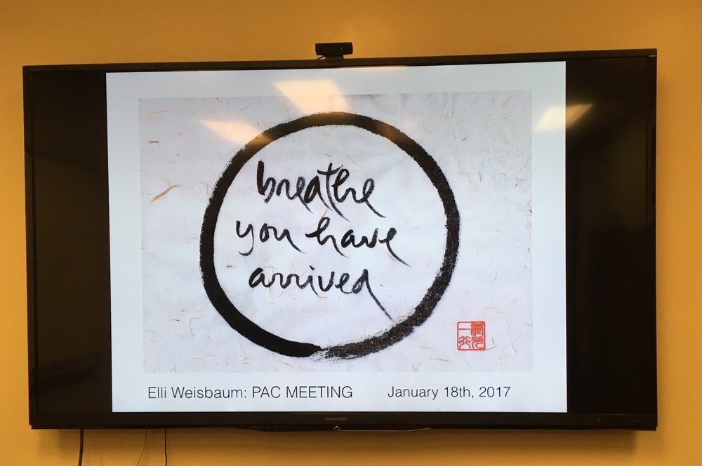 The calligraphy at the opening of my slide deck for our first PAC Meeting.