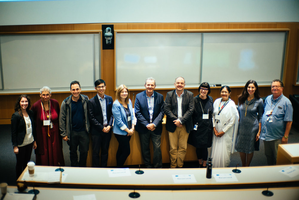 The Mindfulness Project Team and speakers at the Inaugural Mindfulness Research Symposium at SickKids Hospital, September 20, 2018. From left: Elli Weisbaum, Ani Jamyang Brock, Norman Farb, Dzung Vo, Sara Ahola-Kohut, Zindel Segal, Scott Prescott, Mary Bell, Chandra Ram, Danielle Ruskin, Fred MacKay