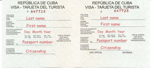Image result for tourist card cuba