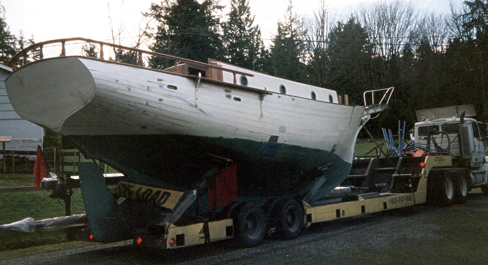 before:  hauling sea dream to boatyard