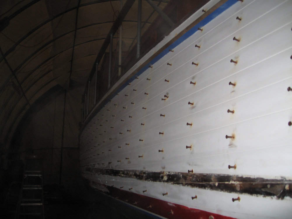 in progress: adding hull fasteners for watertight integrity