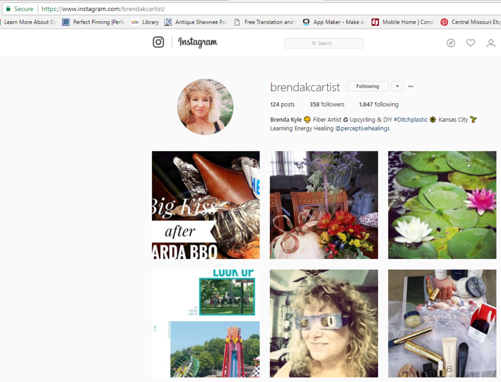 Personal account on Instagram @BrendaKCArtist Sharing life experiences, things I love and Artistic fun.