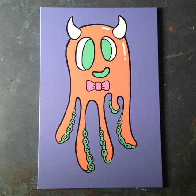 🐙 in progress #octopus #acrylic #painting #character #colour #bowtie