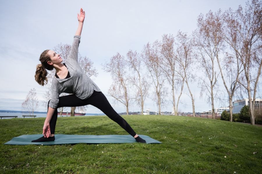 Yoga at Sculpture park in Seattle. 24mm Summilux @f8