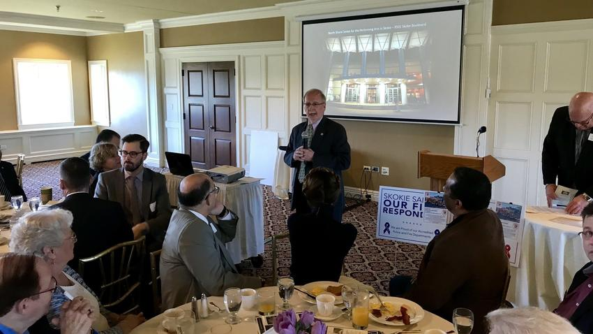Pictured: Skokie Mayor George Van Dusen provides his State of the Village address Friday, April 27, 2018 at an event sponsored by the Skokie Chamber of Commerce at the Evanston Golf Club. (Pioneer Press)
