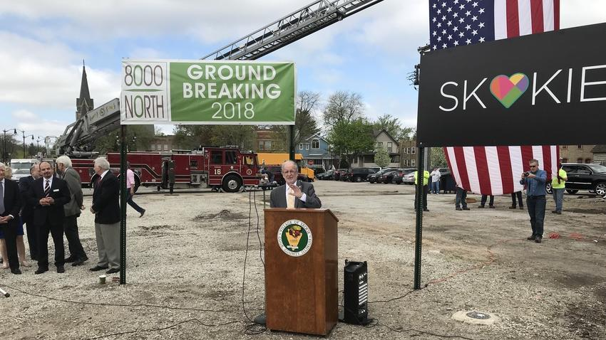 Pictured: Skokie mayor George Van Dusen speaks May 10, 2018 at a groundbreaking ceremony for the new 8000 North residential and retail building to be built in downtown Skokie. (Pioneer Press)