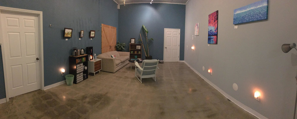 Our lounge area is a wonderful place to sit and sip your tea or water after your float. We have some books you can write your experience in or see what others have written. We have yoga supplies if you want to stretch out after your float or sauna. Classes are taught in this space and the space is avaiable to rent for retreats or events.