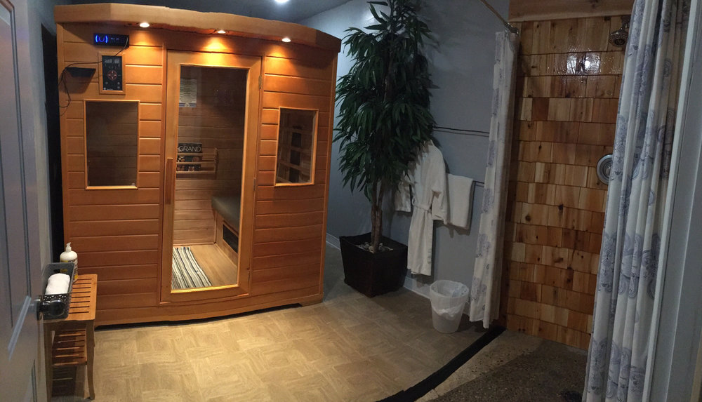 Our Infrared sauna has enough space for 4, though most comfortably for 1 or 2 with a shower in the room and everything you need.