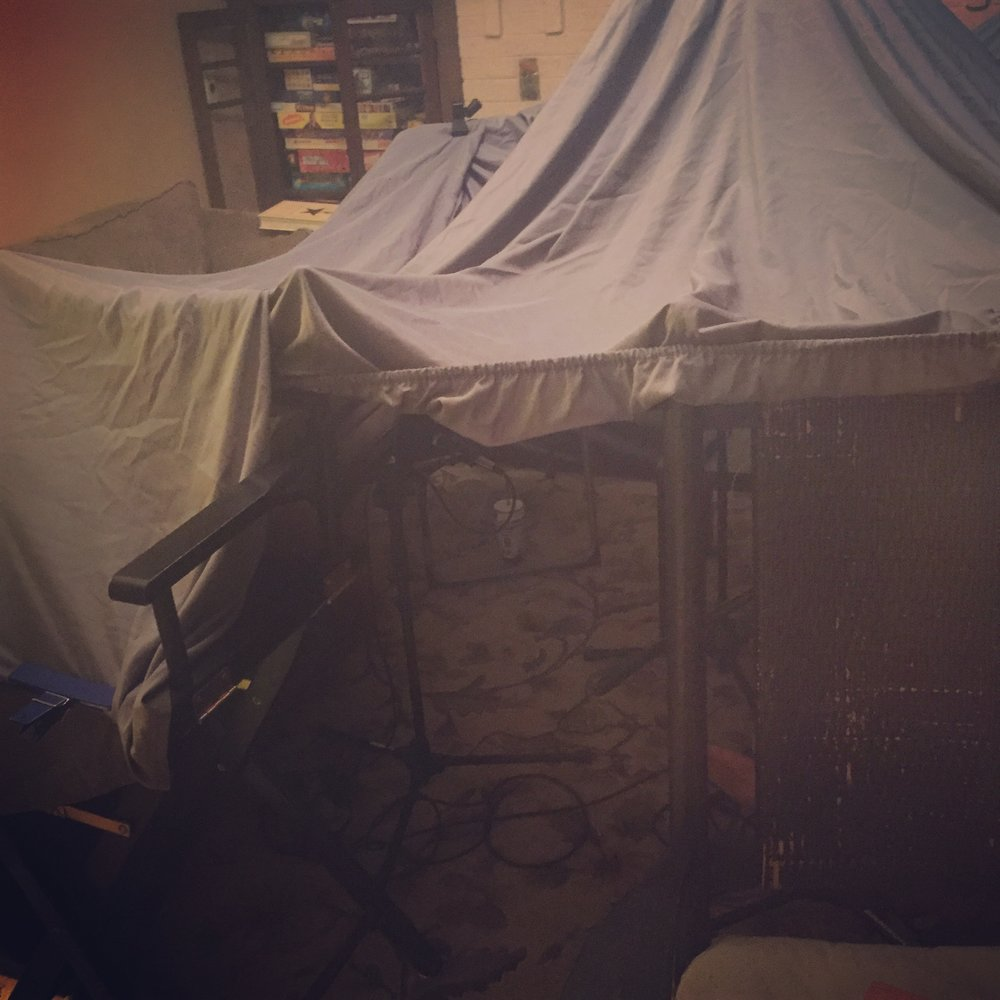 The fort Logan and I built with all equipment inside!