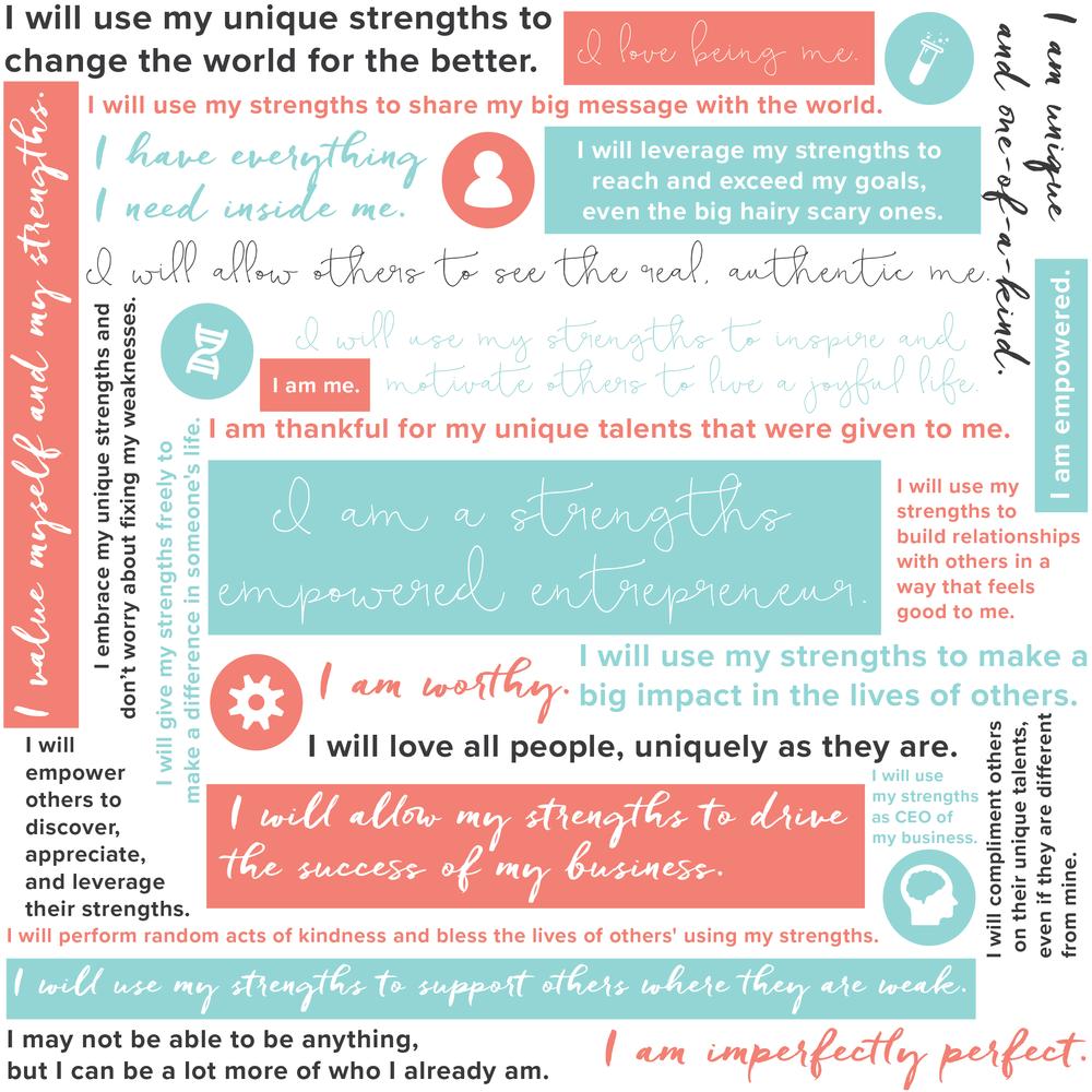 """I am a strengths empowered entrepreneur"" - Strengths Manifesto http://thestrongbusinessplanner.com/join"
