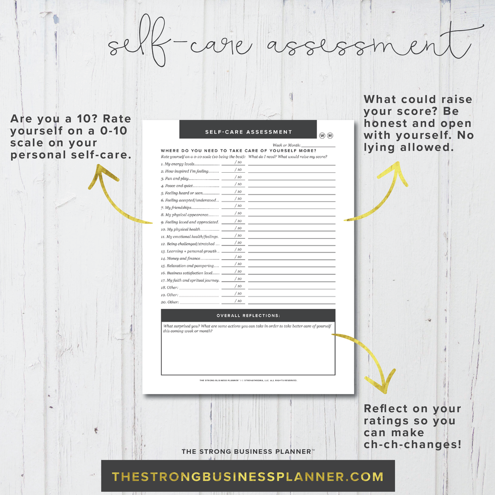 SelfCare Assessment The Strong Business Planner – Self Care Assessment