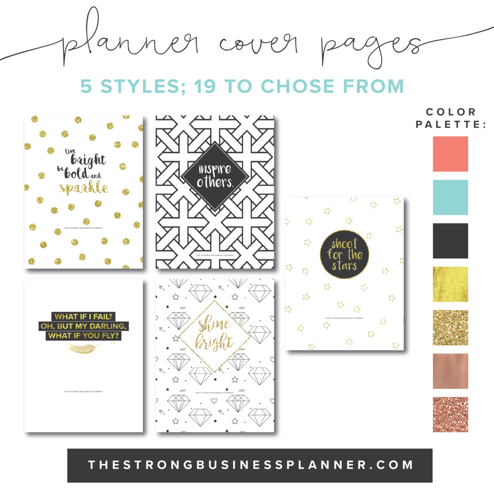 cover pages the strong business planner dress up your planner binder these beautiful cover pages there are 5 planner cover pages styles to choose from in a variety of colors 19 total