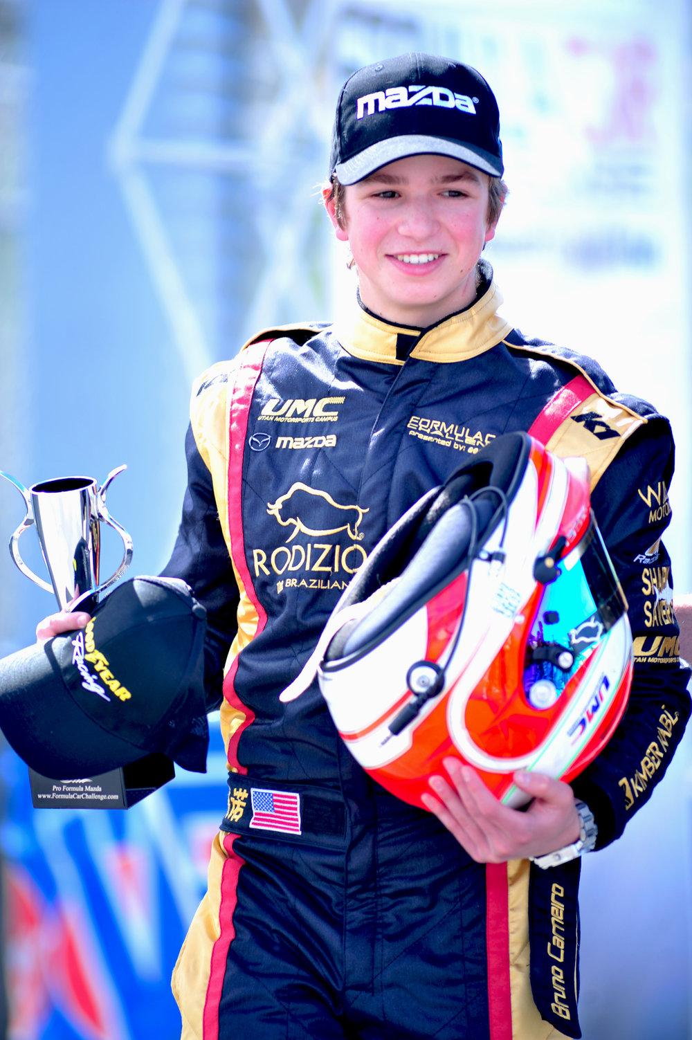 Bruno Carneiro podium celebrations during the 2016 Formula Car Challenge at Mazda Raceway Laguna Sec (Mar.2016)