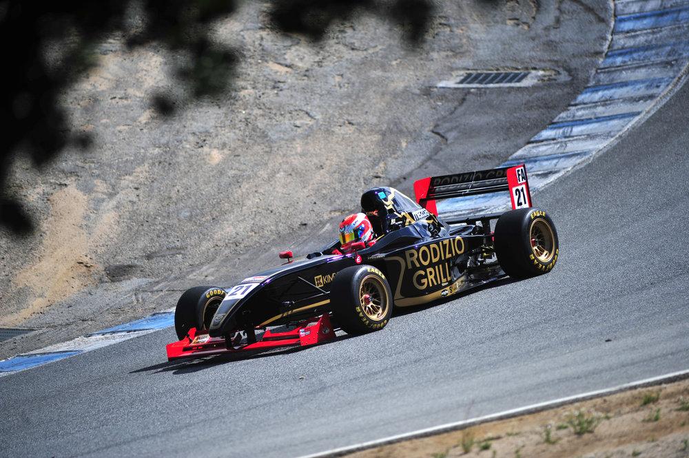 Bruno Carneiro challenges the famous Cork Screw corner at the Mazda Raceway Laguna Sec (Mar.2016)