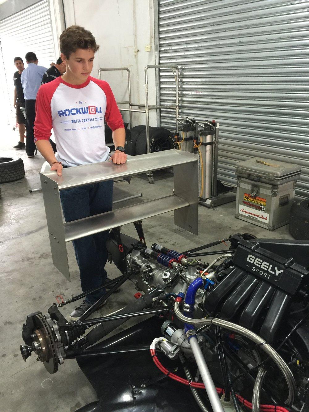 Bruno Carneiro observes his UMC F4 Mygale car (Mar.2016)