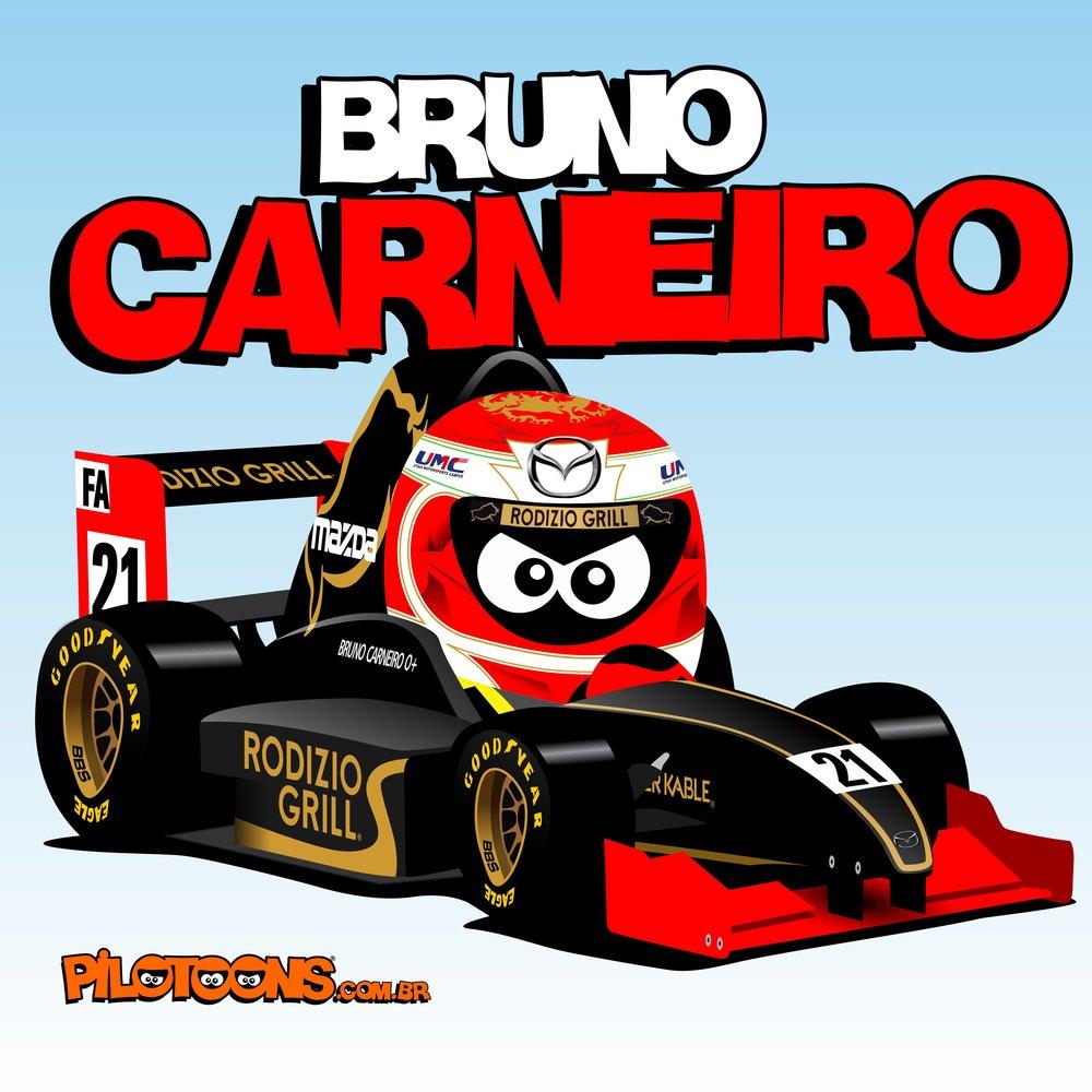 "Bruno Carneiro Pilotoons Cartoon ""American Racer"" by Bruno Montovani"