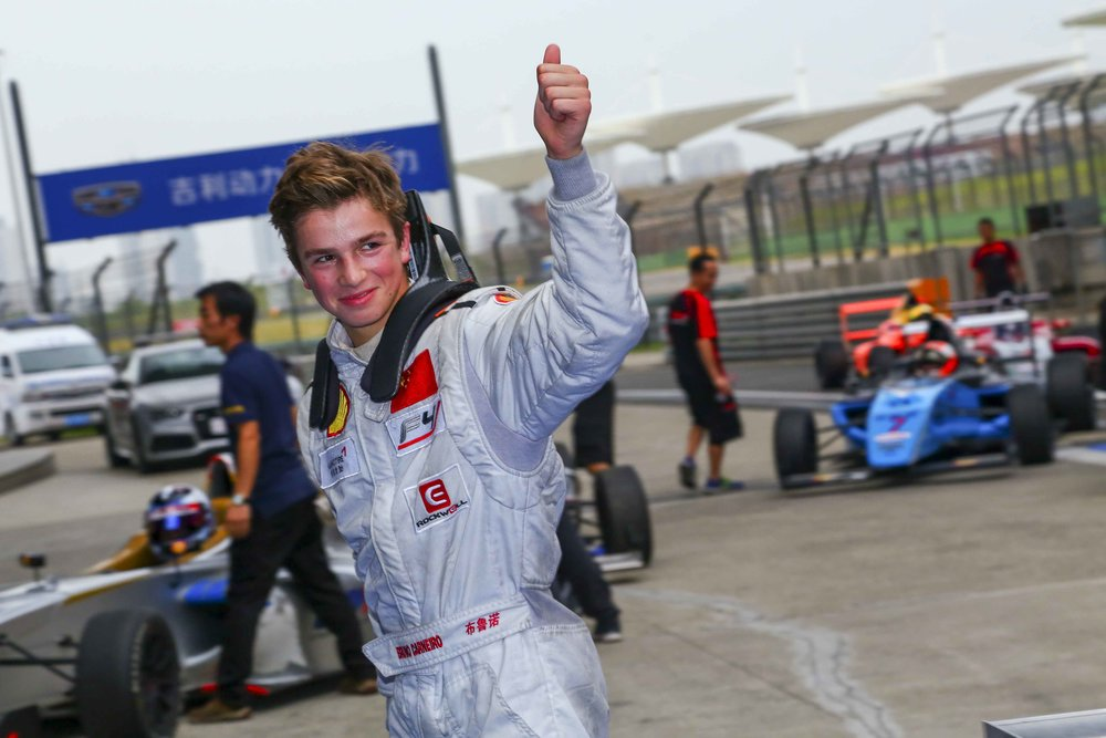 Bruno Carneiro after wining race 1 of the 2016 FIA F4 Chinese Championship in Shanghai, China (Sep.2016) Photo by CFGP