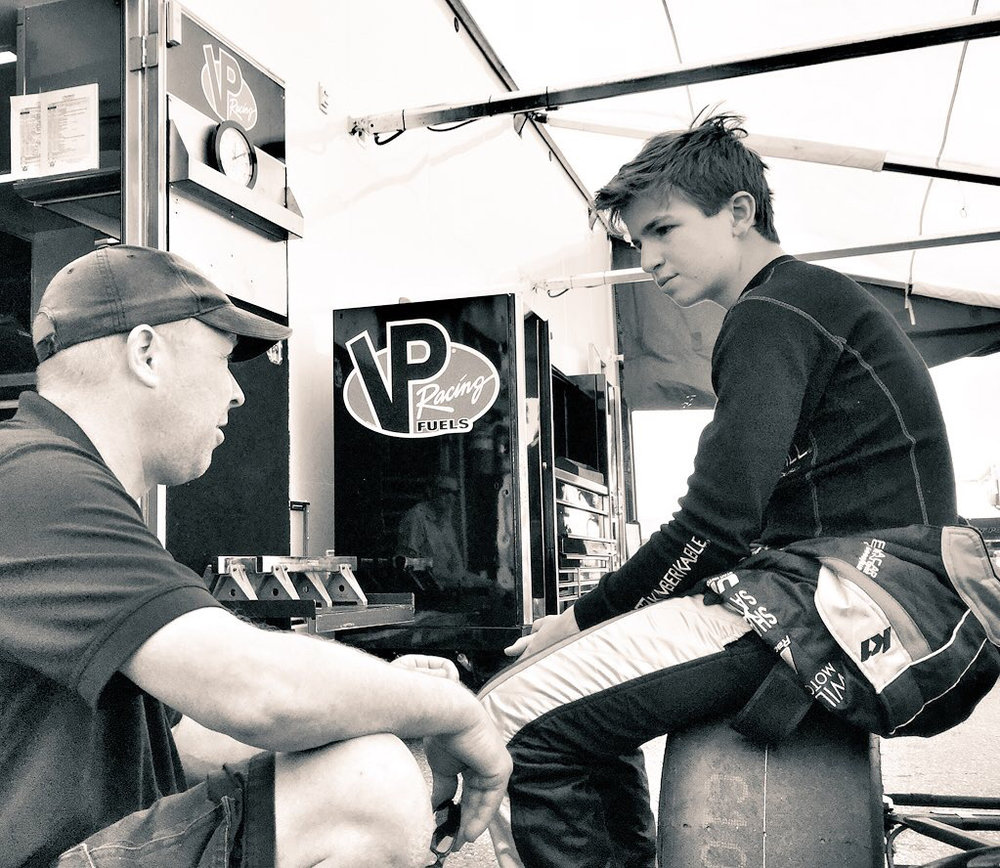 Bruno Carneiro receives final instructions from his race engineer Ian Lacy prior to the start of round 2 of the 2016 Formula Car Challenge Thunderhill Raceway (Apr. 2016). Photo by Luigi Carneiro