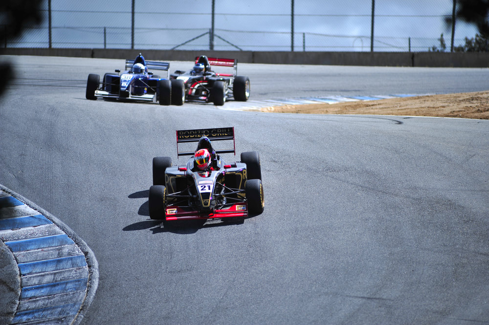 Bruno Carneiro leads round 1 of the 2016 Formula Car Challenge at Laguna Sec (Mar. 2016)