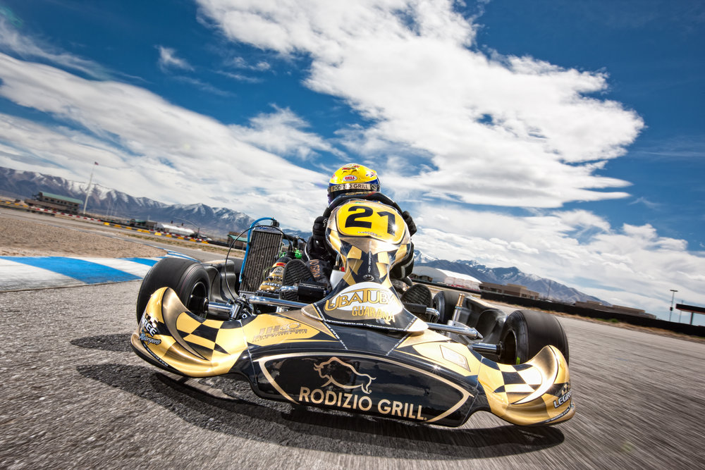 Bruno Carneiro during a promotional shoot driving his Rodizio Grill CRG Rotax Junior ( Apr. 2012) Photo by Jacom Stephens