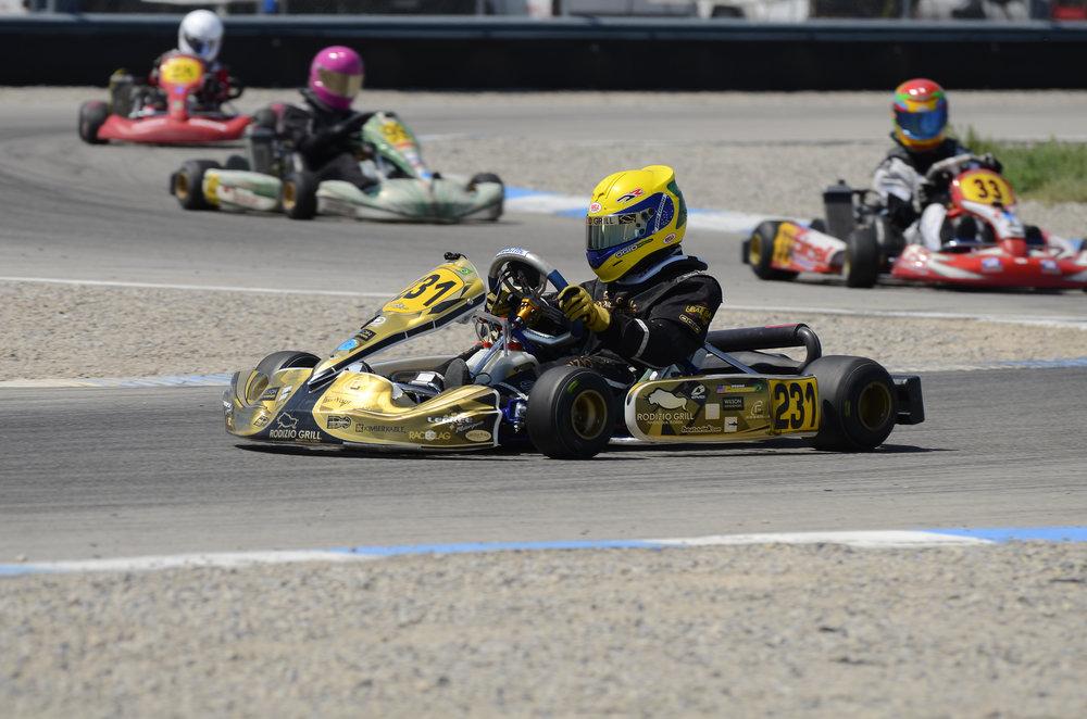 Bruno Carneiro leads the field. Round 3 of the 2014 Utah Karting Championship