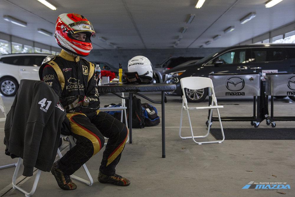 Bruno Carneiro waiting for his turn on board the brand new Mazda MX5 car. (Nov 2015) Photo courtesy of Mazda Motorsports