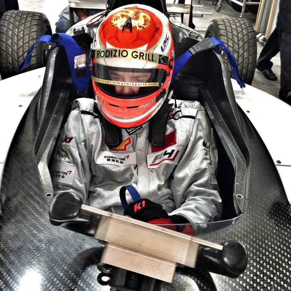 Bruno Carneiro on board Utah Motorsports Campus brand new Mygale F4 car in Zhuhai, China (Apr.2016). Photo by Luigi Carneiro