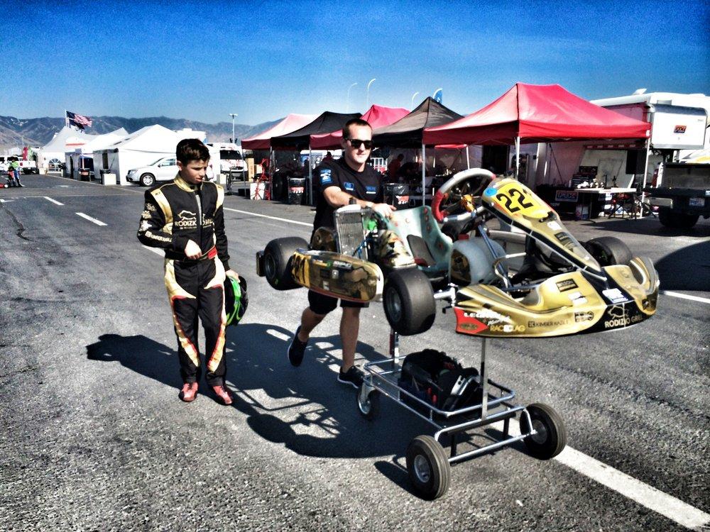Bruno Carneiro and his tuner Shawn Circa during the 2014 USA Rotax GrandNationals in Utah (Jul.2014). Photo by Luigi Carneiro