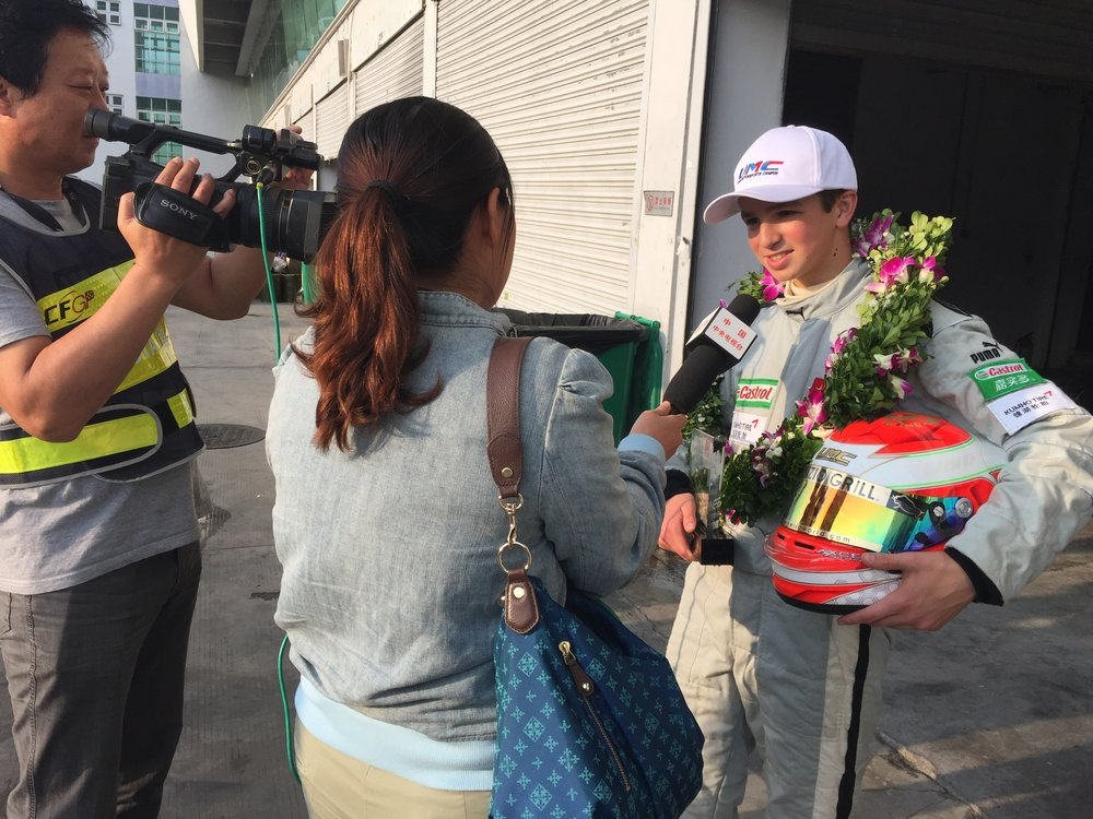 Bruno Carneiro is interviewed by CCTV5 in China after finish on the Podium in his first race on a F4 Car. Photo by Luigi Carneiro