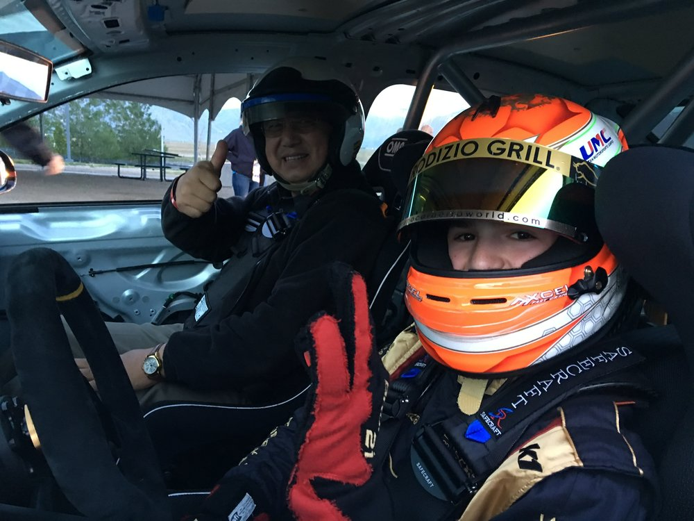 Bruno Carneiro takes his friend and team manager William Lee for a fast lap at the Utah Motorsports Campus