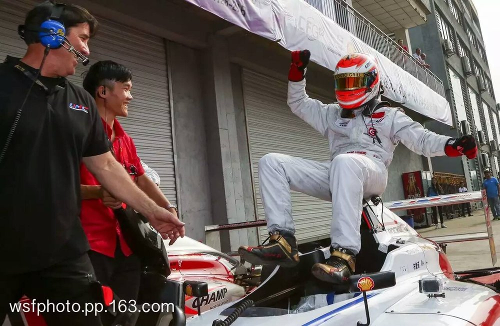 Bruno Carneiro celebrates his second Win at the 2016 FIA F4 Chinese Championship in Chengdu, China. Also in the picture are Bruno's engineer Kent Stacy and mechanic Mr. Tan