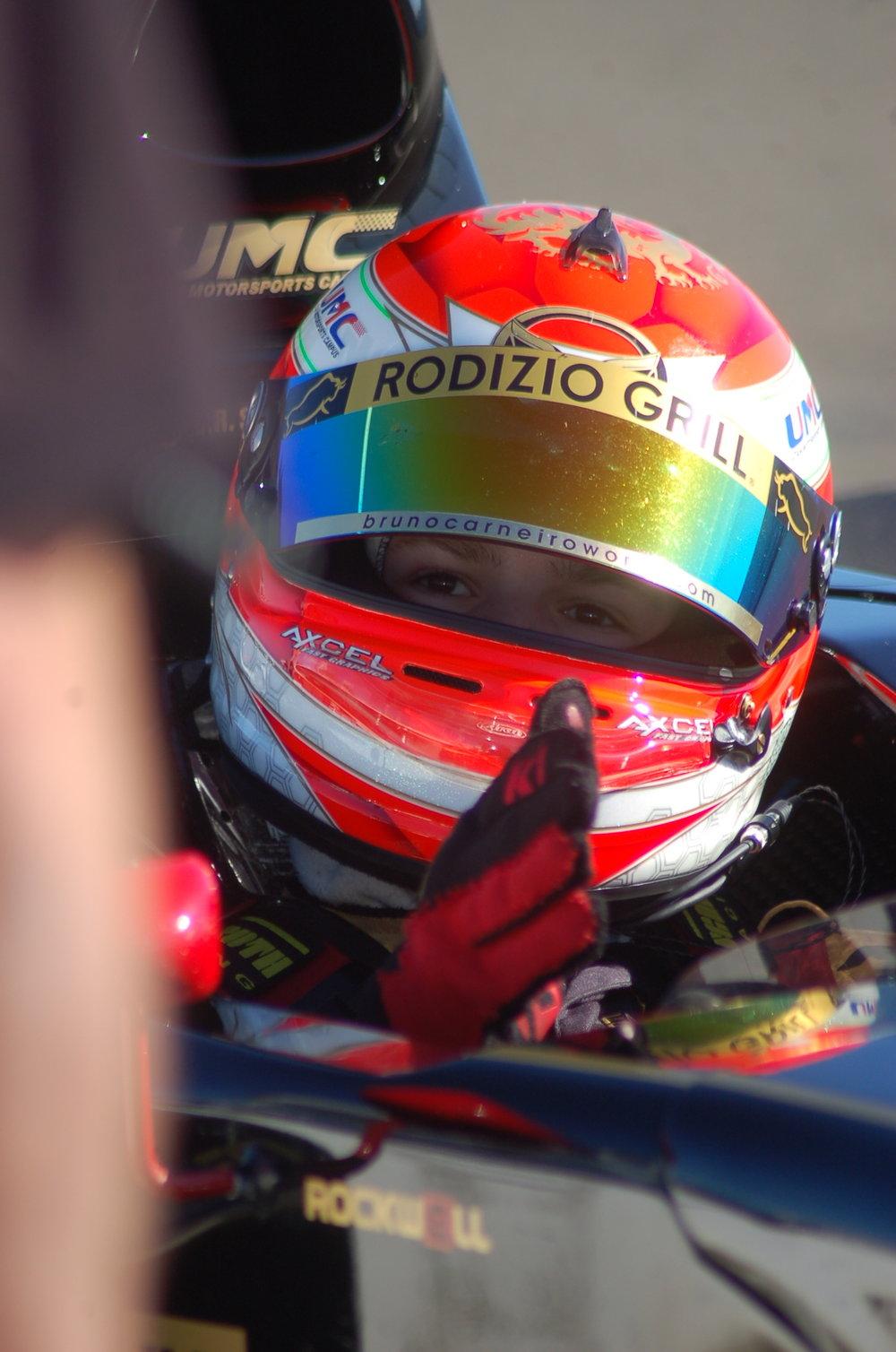 Bruno Carneiro talks to his race engineer Ian Lacy via radio at Thunderhill Raceway (Apr.2016) Photo by Ge Ferreira