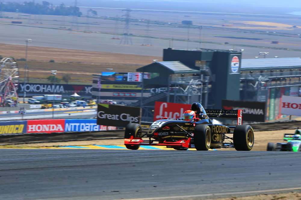 "17 year old Bruno Carneiro became the 2016 Formula Car Challenge Champion at the season's final event at the beautiful Sonoma Raceway during the 2016 Indy Car Championship. Bruno took the Rodizio Grill/Ian Lacy 270hp Formula Pro Mazda to 5 Wins, one 2nd, a 4th and a 5th, with races held at Mazda Raceway Laguna Seca, Thunderhill Raceway, Sonoma Raceway, Portland and Fontana. "" It was an amazing season driving this fantastic race car! I would like to thank my wonderful sponsors Rodizio Grill, Ian Lacy, Makes & Models, Shark Savers, FFKR Architects, Wilson Track Design, Rockwell Watches, Kimberkable, K1 Race Gear, Arai Helmets, Crystal Clean, Creative Force Graphics and VP Fuel. Many thanks to everyone at Formula Car Challenge for this amazing Championship as well as everyone at Mazda Motorsports for their incredible guidance and support."" said the young Utah resident. As the Champion of the PRO Formula Class, Carneiro earned a spot at the prestigious Mazda Road to Indy pre selection shootout."