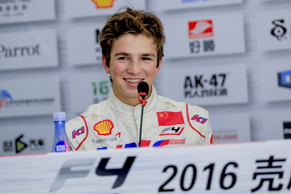 Bruno Carneiro during drivers press conference after clinching the 2016 FIA F4 Chinese Championship in Zhuhai China