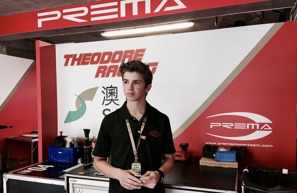 Right after becoming the 2016 FIA F4 Chinese Championship powered by Geely, 17 year old Bruno Carneiro had the honor to be a guest of the SJM Theodore Racing Prema team at the 63rd Macau Grand Prix. Macau is located a few miles from Zhuhai, China and Hong Kong.