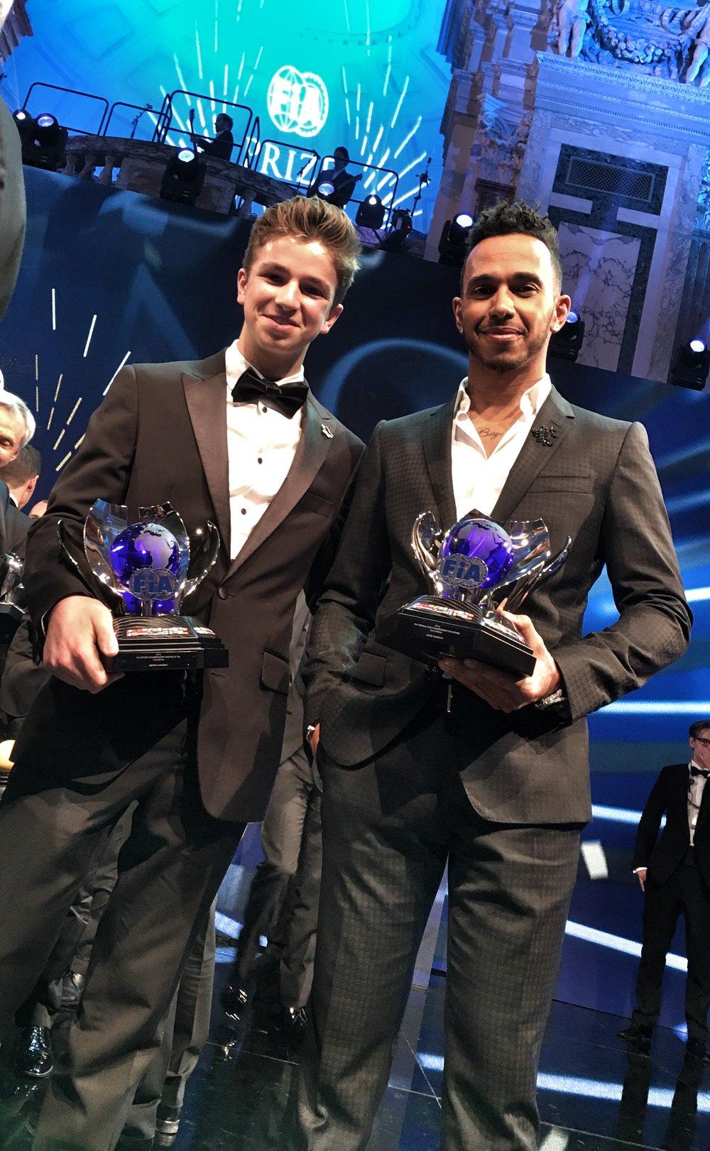 Bruno Carneiro and Lewis Hamilton (3 Times Formula One World Champion)
