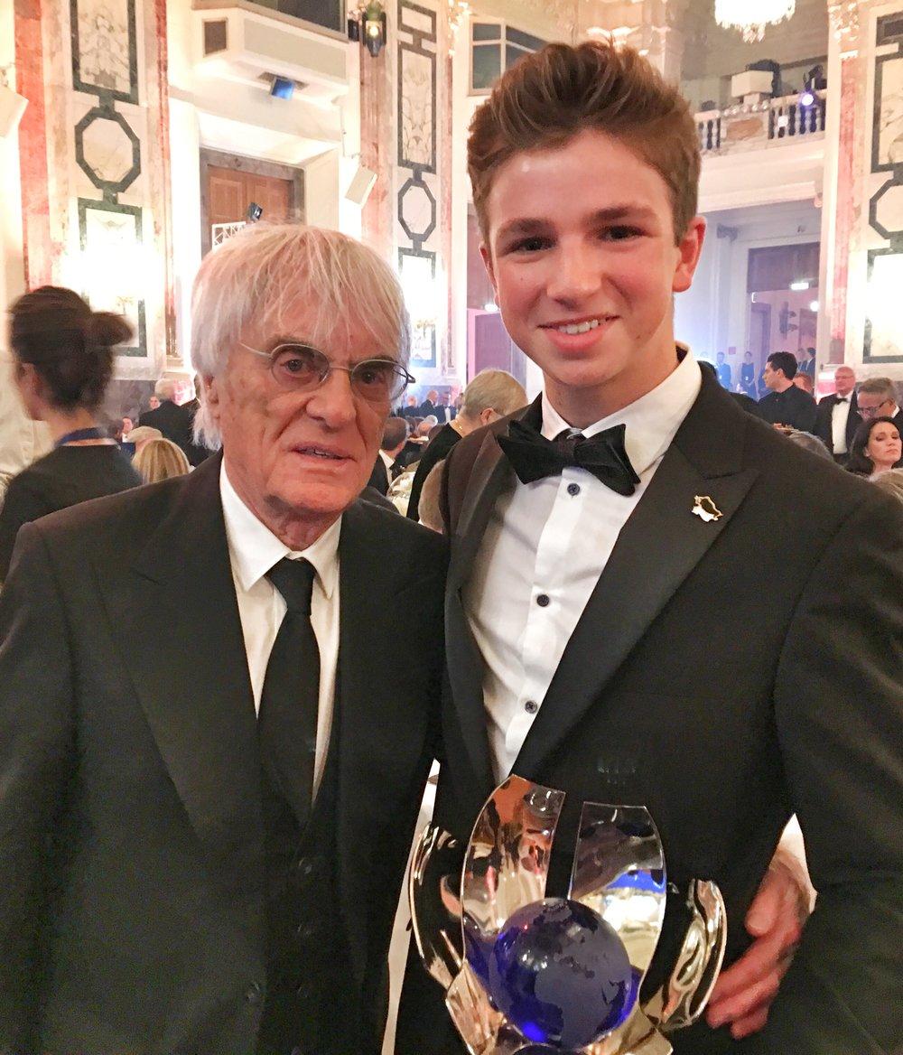 Bernie Ecclestone, Formula One Management Chief Executive and F4 driver Bruno Carneiro