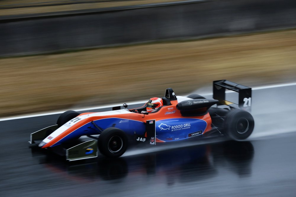 Bruno Carneiro (17) braves the rain during practice sessions for the 2017 Japan F3 in Okayama ( former Aida Circuit), Japan (MAR 2017)  Photo by Hachyia Hiromi